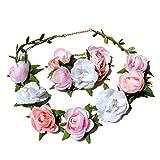 Blumen Haarband I Haarschmuck Vintage zur Hochzeit Tracht Kommunion I Haarreif Blüten in Rosa Pink Weiß I Blumen Haarband längenverstellbar