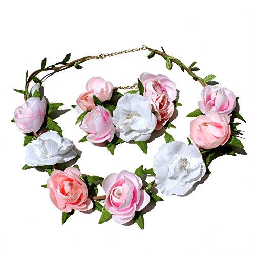 Blumen Haarband und Armreif I Haarschmuck Vintage zur Hochzeit Tracht Kommunion I Haarreif Blüten in Rosa Pink Weiß I Blumen Haarband längenverstellbar