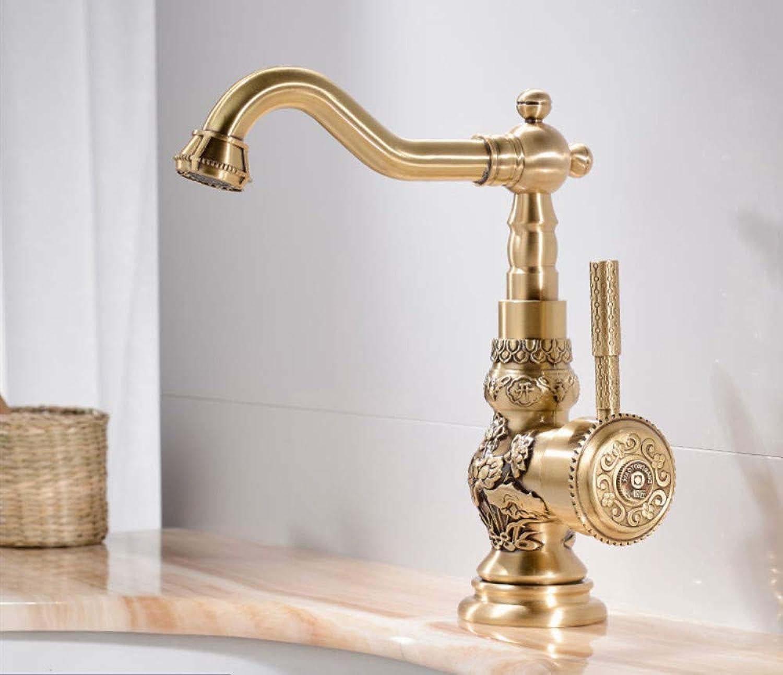 Waschtischarmaturen Antik Messing Bad WasserhahnDrehen Einzigen Handgriff Heie und Kalte Wasser Mischbatterien Crane3