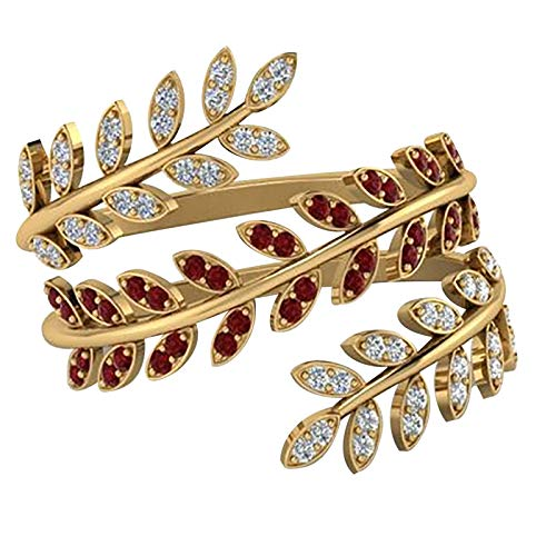 Willow Leaves Knuckle Stacking Rings for Women Engagement Rings Creative Adjustable Personalized Ring Women's Accessories Weedding Rings Valentine's Day Present(One Size,Multicolor)