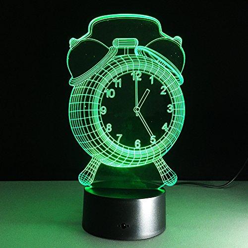Ledlamp met optische illus-wekker, 3D nachtlamp-led, 7 kleuren, de decoratieve lamp van de noten-bureau-lamp voor woonkamer, slaapkamer, kantoor, kinderdagverblijf