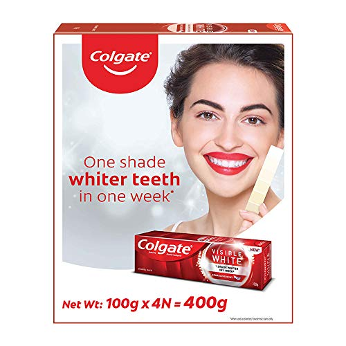 Colgate Visible White Teeth Whitening Toothpaste, Protects Enamel, Removes Stains, With Whitening Accelerators, 400g, 100g X 4