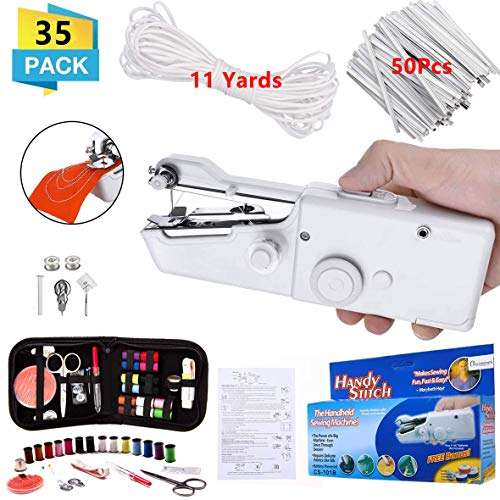 Handheld Sewing Machine Mini Handy Cordless Portable Sewing Machine with Sewing KIT 11 Yards Elastic Band and 50Pcs Nose Bridge Band Clip for Beginners Quick Handy Stitch DIY Sewing Crafts