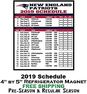 New England Patriots NFL Football 2019 Full Season Schedule Refrigerator Magnet 320