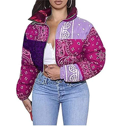 Women Shiny Short Puffer Jackets Bandana Printed Cropped Puffer Jackets Fashion Zip Up Bubble Coats (purple, XL)