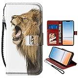 Funda tipo cartera para LG G7 ThinQ [6.1 pulgadas] Starry Sky Lion con tarjetero