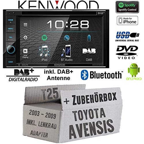 Toyota Avensis T25 Lenkrad - Autoradio Radio Kenwood DDX4019DAB - 2DIN Bluetooth | DAB+ Digitalradio inkl. Antenne | Spotify | DVD | USB | CD | MP3 - Einbauzubehör - Einbauset