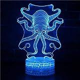 Lámpara de Noche de Ilusión óptica 3D Lámpara de mesa 7 colores de Acrílico Plano & ABS Base & Cargador USB octopus