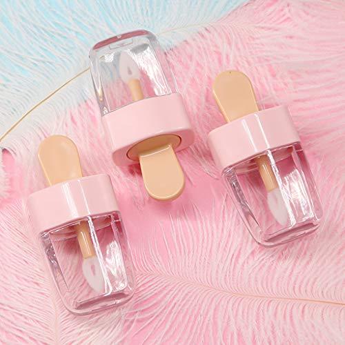 ruiruiNIE 3,2x6,8 cm Süßes EIS Form Mini Lipgloss Tube Leere Lippenbalsam Behälter Mit Rosa Deckel Gummieinsätze Lippenstift Probenspender Flasche
