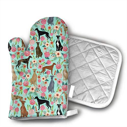 shotngwu Manoplas de horno y almohadilla caliente, galgo floral lindo perro menta GE guantes de horno y agarraderas, cómodos juegos de guantes de cocina para interiores y exteriores