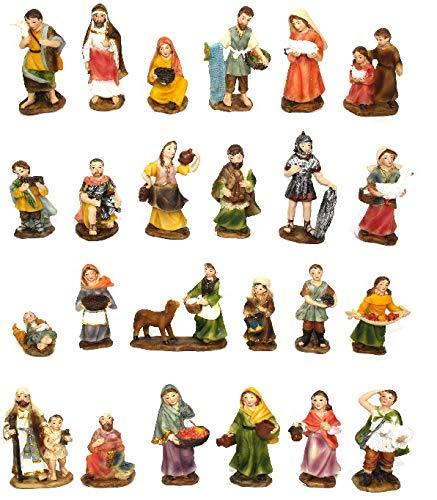 Set 24 Statue Presepe economiche per Realizzare Presepi di Natale Napoletano Statuine Pastori in Resina dipinte a Mano Personaggi Mestieri Contadini Figure Diverse 7 8cm