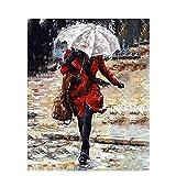 Pintura de niña por número en lienzo figura de mujer hecha a mano pinturas acrílicas para adultos di...