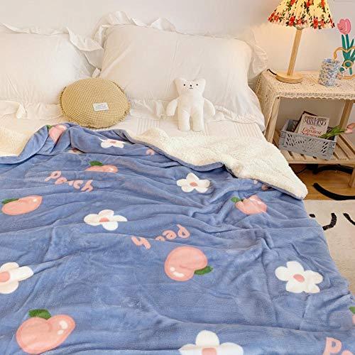 XUMINGLSJ Manta de Microfibra Color sólido, Extra Suave Mantas para Sofás, Multifuncional para sofá, Cama, Viajes, Adultos, niños -Azul_Los 90 * 110cm