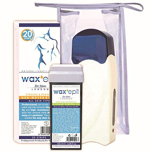 WAXEPIL Cadeau! roll-on recharge 1*ROSEMARY ESSENTIAL OIL* SPECIAL HOMME, GRANDES ZONES, cartouche cire épilation roll on - 1x100ml recharges +1 chauf