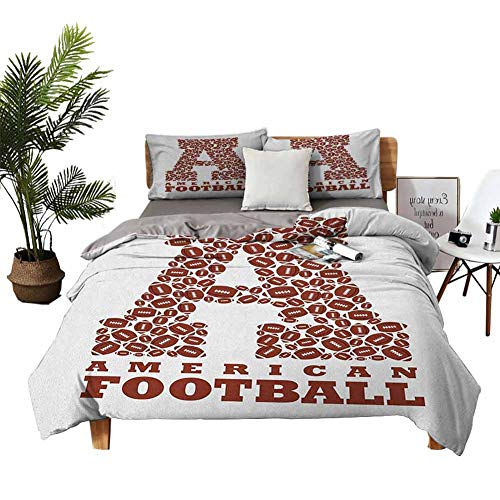 DRAGON VINES 4 Bedding Cover Set Cotton Sheets Pillow sham First Letter of The Alphabet Shape with American Footballs Athletism Sports Brown and White Bed Sheets King Size Deep Pocket W104 xL90
