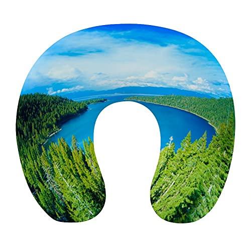 CIKYOWAY Almohada Viaje,Lake Tahoe Emerald Bay,Espuma de Memoria cojín de Cuello,Almohadas de Acampada,Soporte de Cuello para Viaje Coche