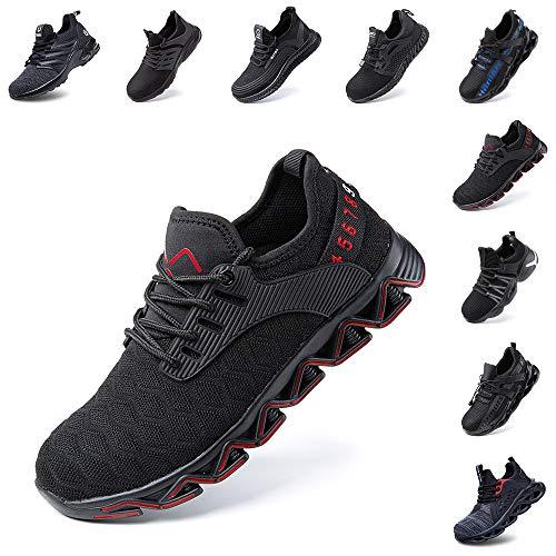 Zapatos de Seguridad Hombre Mujer con Punta de Acero Zapatillas de Trabajo Deportivo Calzado Ligeros Comodo Transpirables Unisex Rojo Talla 44 EU
