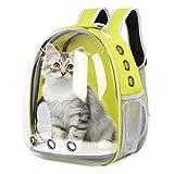 Mochila para Gatos y Perros: Bolsa de Transporte para Mascotas - Mochilas PortáTil de Viaje Cápsula Espacial Transparente Transpirable para Gato y Perro - Medianos Pet Backpack de Transportin Amarillo