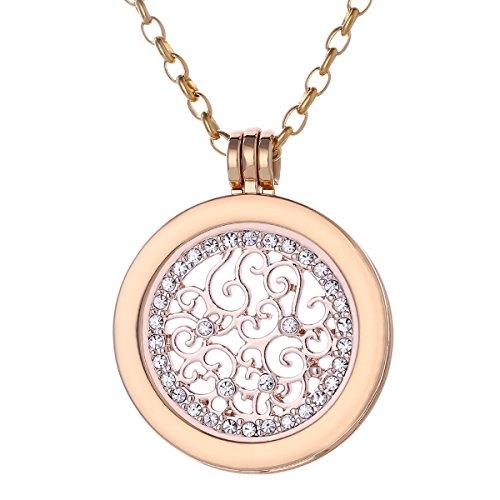 Morella Mujeres Collar 70 cm Acero Inoxidable de Oro y Colgante Amuleto Coin 33 mm para Damas en Bolsa para Joyas