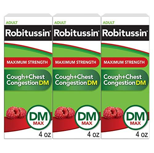 Robitussin Adult Maximum Strength Cough + Chest Congestion Dm Max, (4 Fl Oz Bottle) 4 Fl Oz (Pack of 3), 12 Fl O