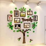 Árbol genealógico 3D Imágenes Marco de fotos Etiqueta de la pared Decoración del dormitorio del hogar Boda@Pequeña_Verde