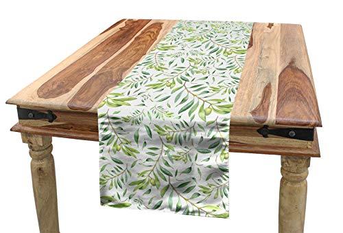 ABAKUHAUS Grünes Blatt Tischläufer, Künstlerischer Olivenbaum, Esszimmer Küche Rechteckiger Dekorativer Tischläufer, 40 x 180 cm, Avocadogrün Olivengrün Weiß