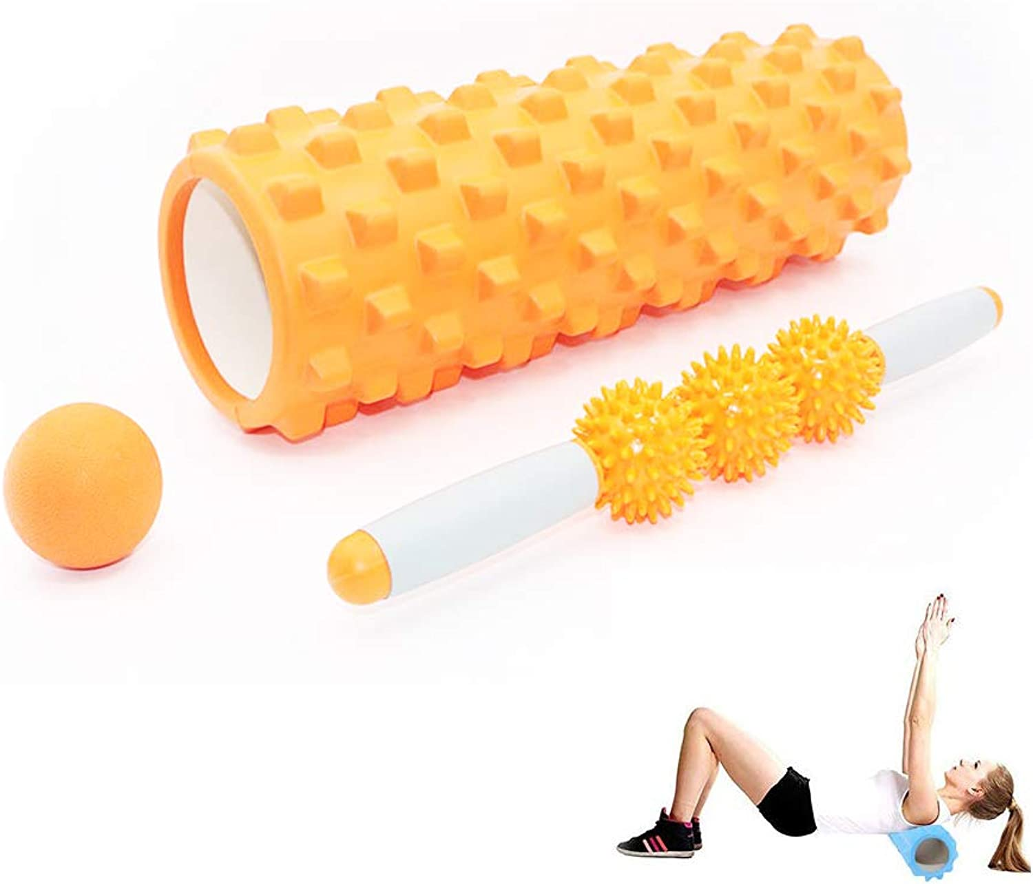 Foam Roller, Muscle Roller Stick, Massage Ball 3in1 Suit for Deep Tissue Muscle Massage, Suitable for Yoga Pilates,orange