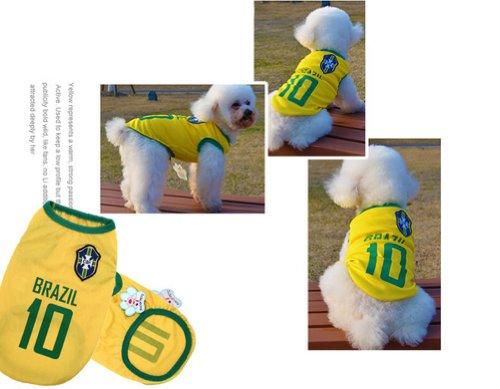 [Brésil] Lovely Dog Apparel Pet Vêtements pour animal domestique de football Vêtements, taille XL
