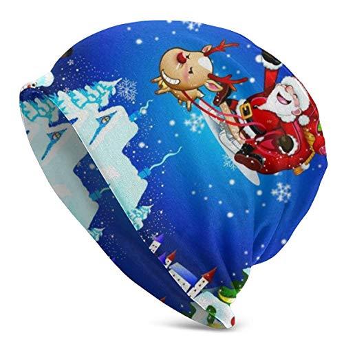 LLOOP Unisex Slouchy Beanie Baggy Skull Cap für Reisen Skifahren Wandern Radfahren Gr. Einheitsgröße, Santa Claus Reiten Seine Rentier Schlitten