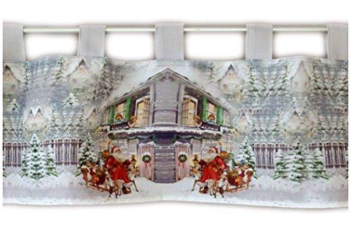 Raebel Scheibengardine 30x120 cm Weihnachten Weihnachtsmann Bistrogardine Weihnachtsgardine Gardine