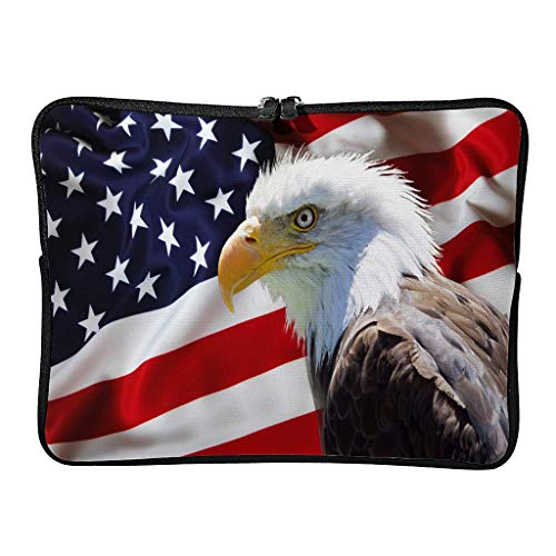Bald Eagle and American Flag USA Tablet Carrying Case Slim Lightweight Multi-Functional Stationery 10-17 Zoll for Boys Girls White 10 Zoll