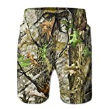 Realtree Leafs Camo Hunting Mens Swim Trunks Beach Shorts with Mesh Lining Boardshort