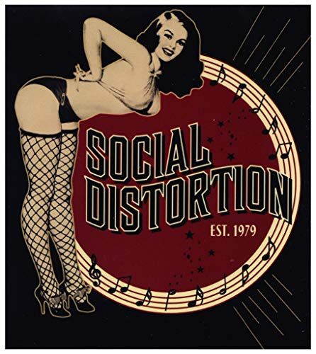 Social Distortion - Brunette Retro Pin-Up Girl Bending Over in Fishnets & Bikini with Logo & Established 1979 - Sticker/Decal