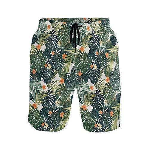 XiangHeFu Shorts de Playa para Hombre, bañador Tropical con Jungla y Bolsillos