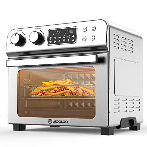 MOOSOO 12-in-1 Air Fryer Convection Oven, 24 Quart Ultra Large Capacity Toaster Oven,...