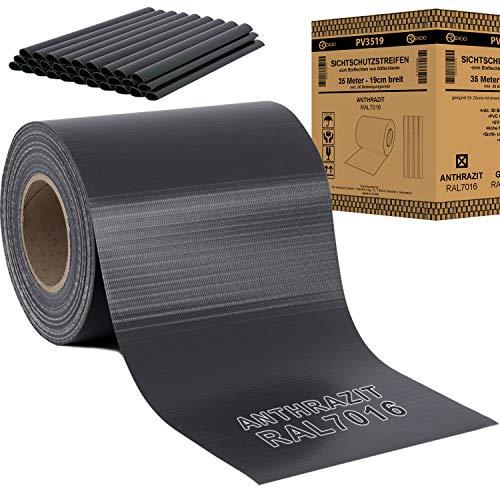 REXOO® PVC Sichtschutz Rolle Streifen Doppelstabmatten Zaun Folie Zaunblende inkl. 30 x Befestigungsclips Anthrazit 19 cm x 35 m 450 g/m²