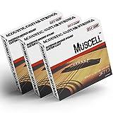 MUSCELL Handmade Phosphor Bronze Acoustic Guitar Strings-3 Packs - 6 Strings - Custom Light JK713