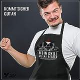 YORA Grillschürze für Männer Vatertagsgeschenk - Mein Grill - Kochschürze lustig [inkl. Urkunde] - lustige Geschenke zum Vatertag - Geschenkideen Papa & Opa - 5