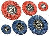 6er Set Nylon Scheibenbürsten je 1x fein und grob mit ø 100mm + 75mm + 50mm Durchmesser