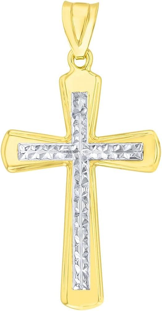 14K Yellow Gold Textured Sparkle Cut Christian Cross Pendant