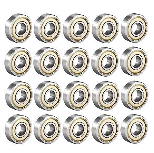 6000 ZZ Rodamiento de bolas 10 mm x 26 mm x 8 mm Cojinete de bolas de Ranura profunda con doble blindaje 80100 Rodamiento de rodillos Rodamiento de bolas radiales en miniatura, 20 pzs