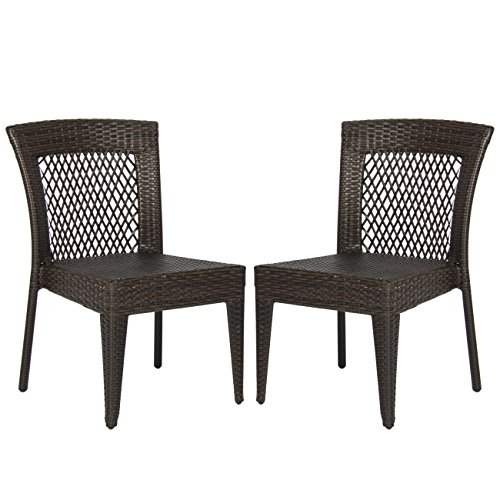 Best Choice Products Outdoor Wicker Chairs Patio Dining Backyard Stackable Garden Furniture Seat (Set of 2)