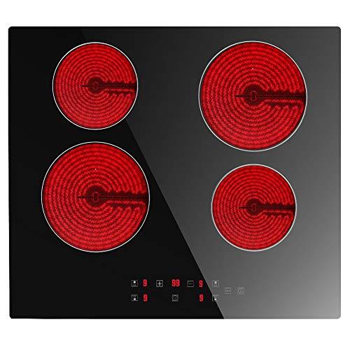 Plaque de Cuisson Vitrocéramique Electrique- (6000W, 4 Foyers, 60cm, Encastrable, Intégré, Autarkic, Tactile, Minuteur, Verre-céramique) -4 Zone