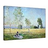 Wandbild Claude Monet Sommer - 60x50cm quer - Alte Meister Berühmte Gemälde Leinwandbild Kunstdruck Bild auf Leinwand