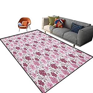 Purple Play Mats Baroque Inspired Nature Motifs Floral Composition Vintage Blossom Carpet for Bedroom, Kids Baby Room, Nursery Rug 6'x 9′