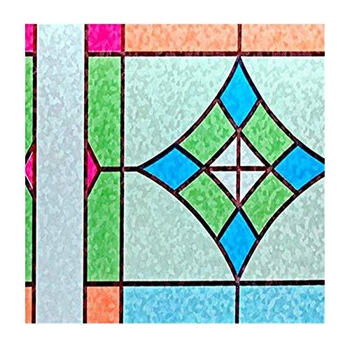 XYanZi Glasfilm Privacy Raamfolie, Zelfklevende 3D-statische Glas-in-lood Raamstickers voor Badkamer Kantoorkeuken Anti-UV 3X6.5 Ft (90 X 200Cm)