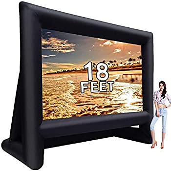 GYUEM 18 feet Inflatable Outdoor Projector Movie Screen - Package with Rope Blower Tent Stakes - Portable,Great for Outdoor and Indoor Party Backyard Pool Watch Movies