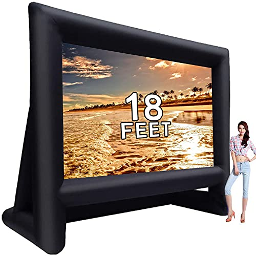 18 feet Inflatable Outdoor Projector Movie Screen - Package with Rope, Blower + Tent Stakes - Great for Outdoor Party Backyard Pool Watch Movies