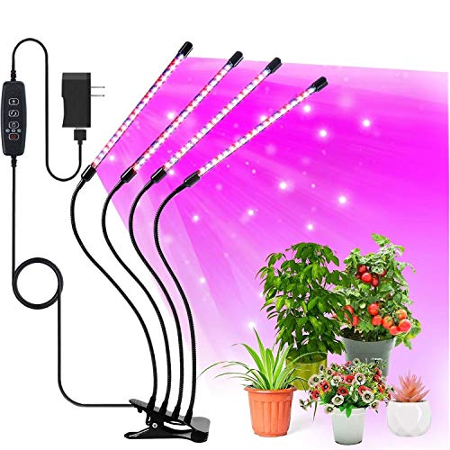 TruBlu LED Grow Lights for Indoor Plants with Red Blue Spectrum, Adjustable Light Levels Dimmable, 3 Modes Timing Function Grow Lamp for Seedlings