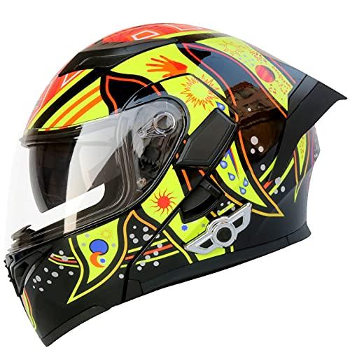 STRTG Cascos Abatibles Bluetooth para Motocicleta, Cascos Integrales Modulares De Doble Visor con Lente HD Altavoz Incorporado Auriculares Micrófono Radio FM Certificación ECE C,XXL
